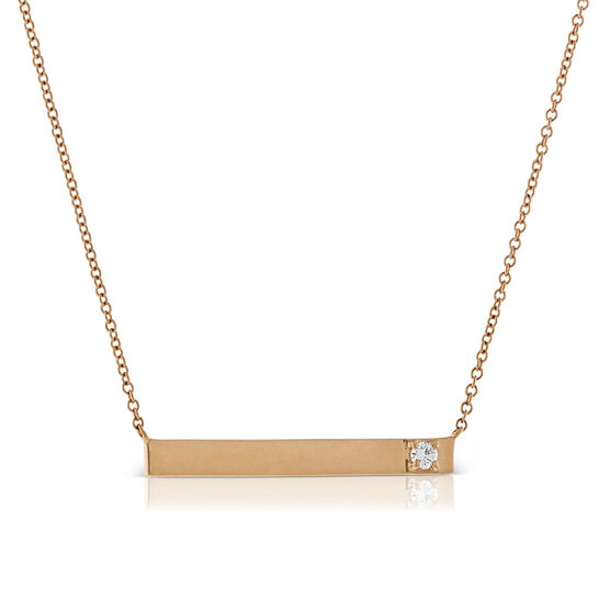Rose Gold Ikuma Canadian Diamond Bar Pendant 14K