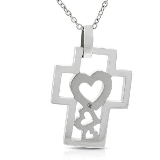 Diamond Heart Cross Pendant in Sterling Silver