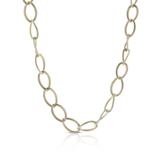 Toscano Two-Tone Graduated Oval Link Necklace 14K