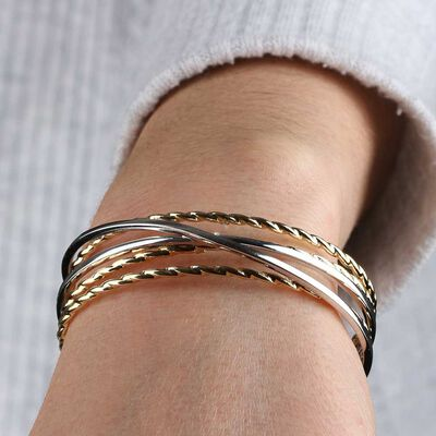 Toscano Two-Tone Crossover Cuff Bracelet 14K