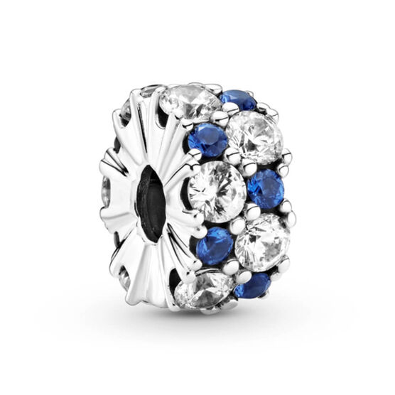 Pandora Clear & Blue Sparkling Crystal & CZ Clip Charm