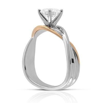 Rose & White Gold Twist Engagement Ring 14K