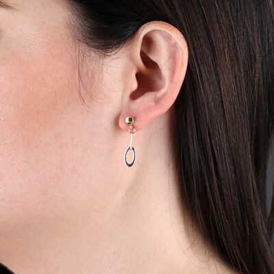 Oval Link Dangle Two-Tone Earrings 14K