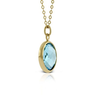 Round Bezel Set Blue Topaz Necklace 14K