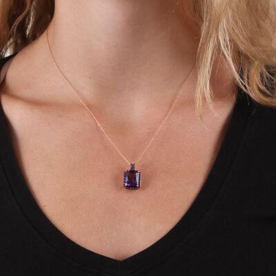 Rose Gold Emerald Cut Amethyst & Diamond Necklace 14K