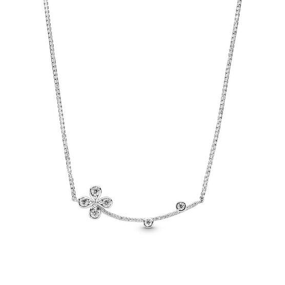 Pandora Four Petal Flower CZ Adjustable Length Necklace