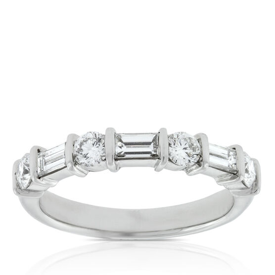 Baguette & Round Diamond Ring in Platinum, 1 ctw.