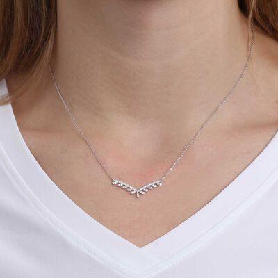 """Diamond Drops """"V"""" Necklace 14K"""
