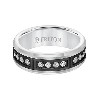 TRITON Stone Comfort Fit Channel Set Diamond Band in Tungsten, 7 mm