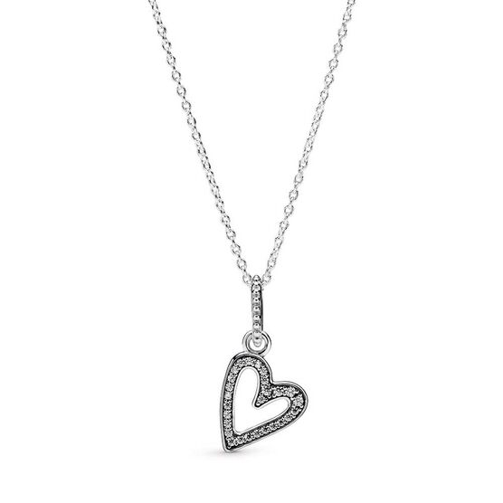 Pandora Sparkling Freehand CZ Heart Pendant Necklace