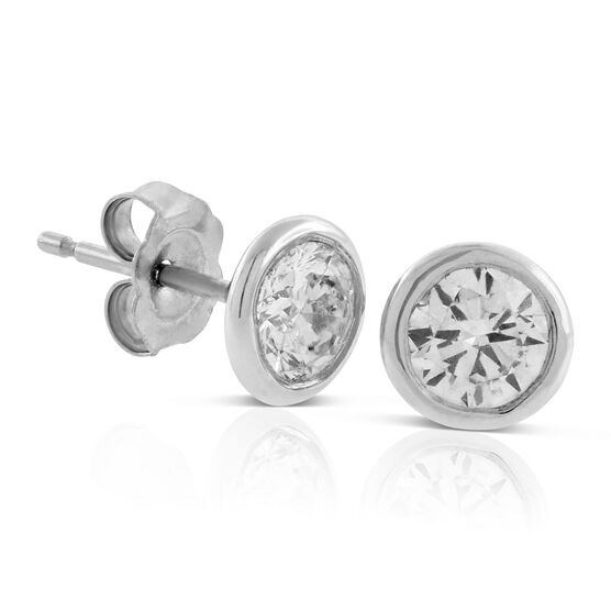 Bezel Set Martini-Style Diamond Earrings 14K