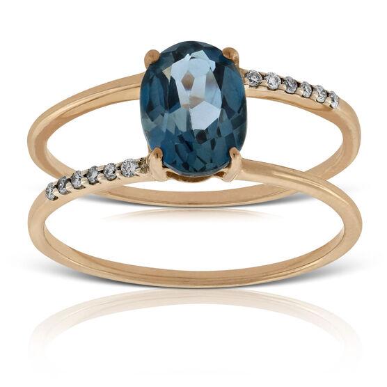 Rose Gold Blue Topaz & Diamond Ring 14K