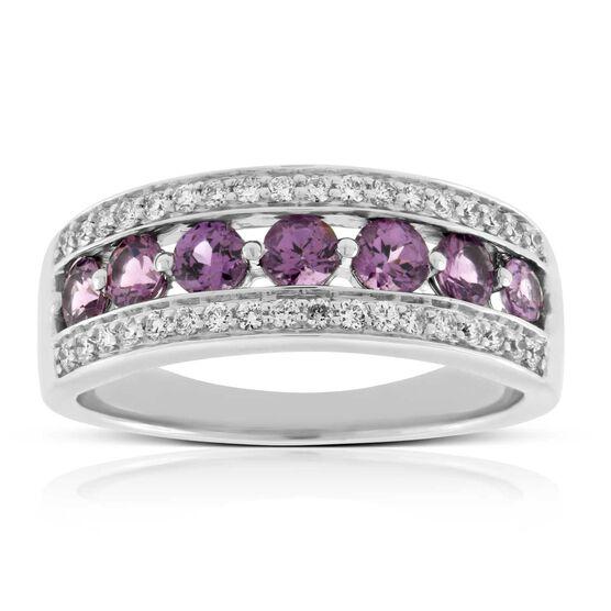 Purple Garnet & Diamond Band 14K