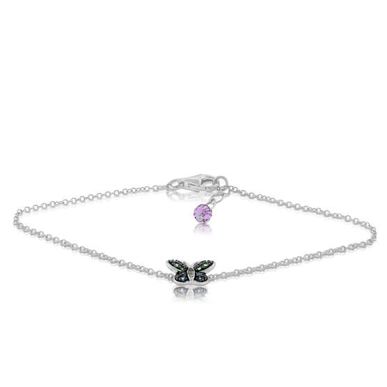 Multi-gem Butterfly Bracelet 14K