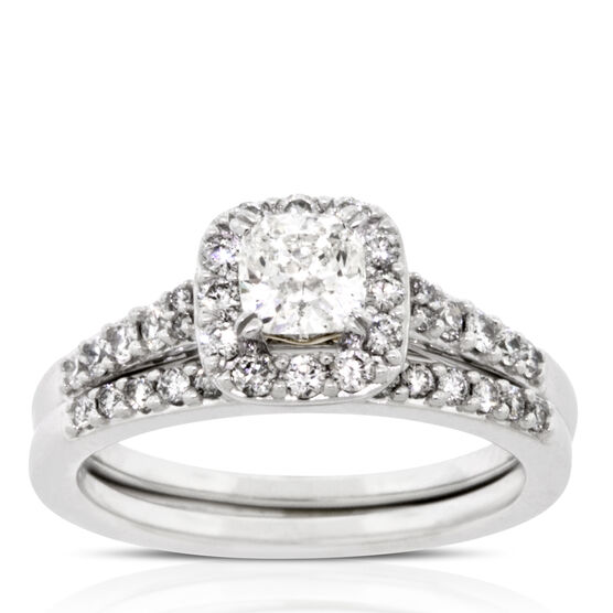 Diamond Halo Bridal Set 14K