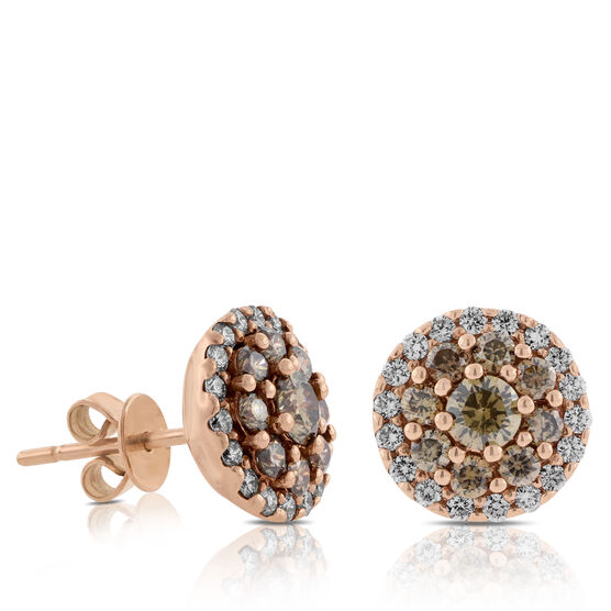 Rose Gold Brown & White Diamond Earrings 14K