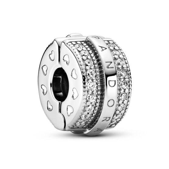 Pandora Sparkling Pavé CZ Lines & Logo Clip Charm