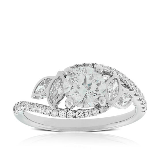 Ikuma Canadian Diamond Leaf Ring 14K