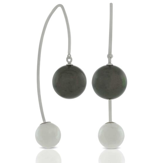 Cultured South Sea Tahitian & Akoya Pearl Threader Earrings 14K