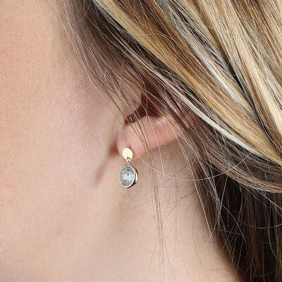 Round Bezel Set Blue Topaz Earrings 14K
