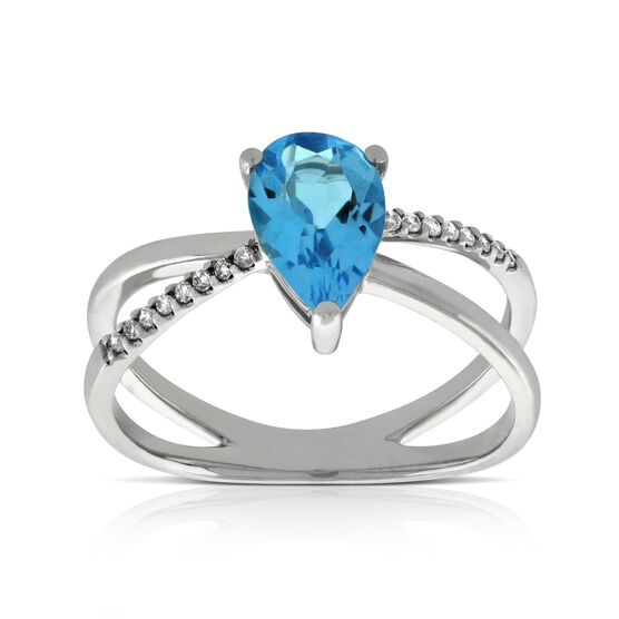 Criss Cross Blue Topaz & Diamond Ring 14K