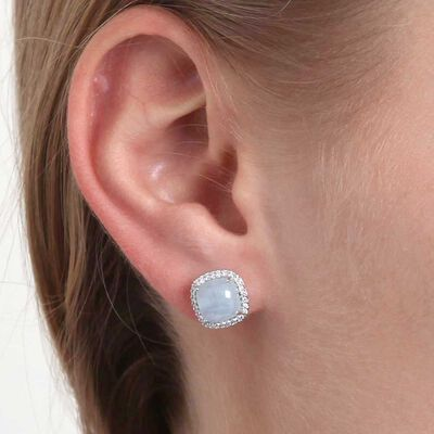 Cabochon Beryl & Diamond Earrings 14K