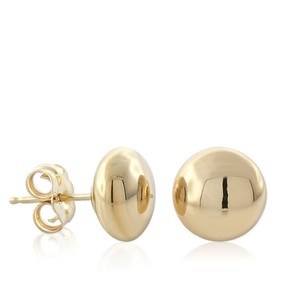Gold Button Earrings 8mm 14K