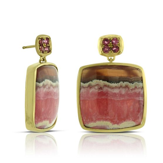 Lisa Bridge COUTURE Rhodochrosite Earrings 18K