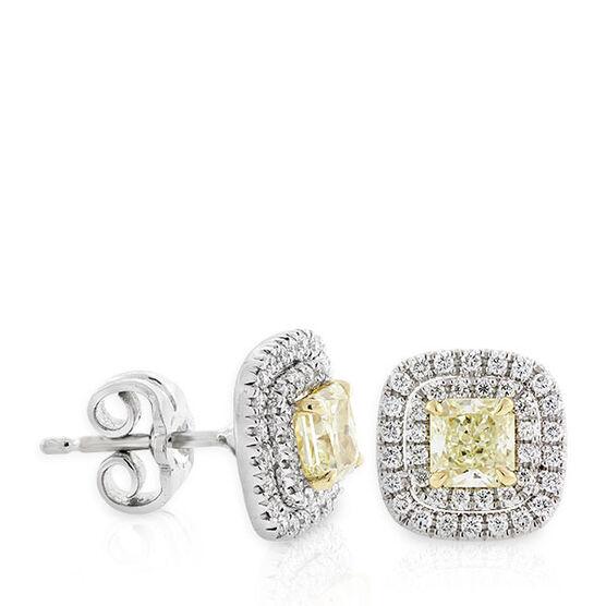 Radiant Cut Yellow Diamond Halo Earrings, 18K