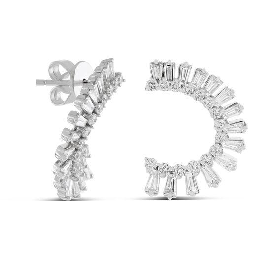 Curved Fan Diamond Earrings 14K