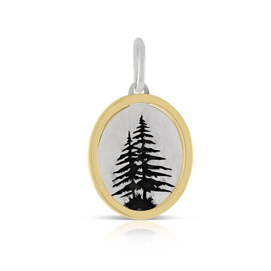 Evergreen Trees Framed Charm / Pendant, Silver & 14K