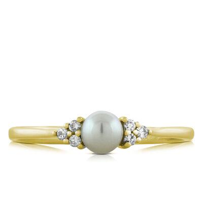 Cultured Freshwater Pearl & Diamond Ring 14K