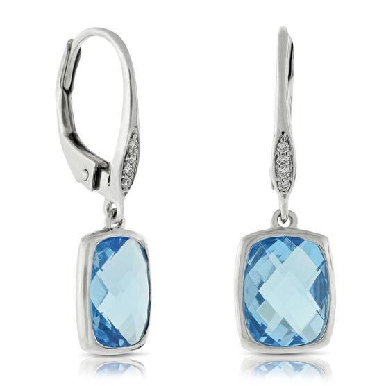 Blue Topaz & Diamond Drop Earrings 14K