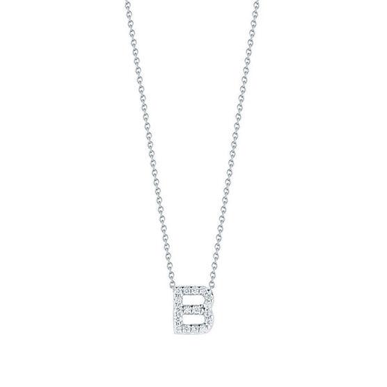 Roberto Coin Tiny Treasures Diamond Initial Pendant 18K Letter 'B'