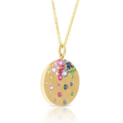 Rainbow Sapphire & Tsavorite Garnet Disc Necklace 14K