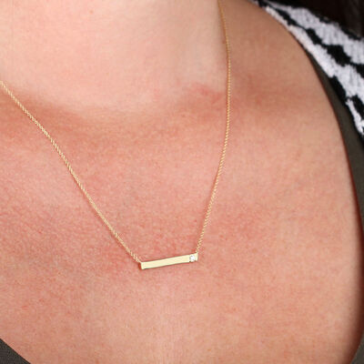 Ikuma Canadian Diamond Bar Necklace in 14K Yellow Gold