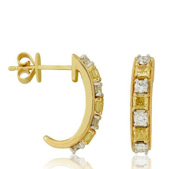 "Yellow & White Diamond ""J"" Hoop Earrings 14K"