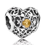 Pandora November Signature Heart Charm