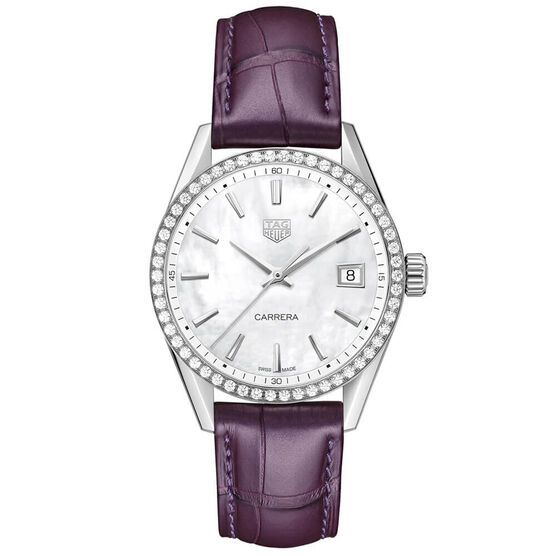 TAG Heuer Carrera Purple Strap Diamond Bezel Watch, 36mm
