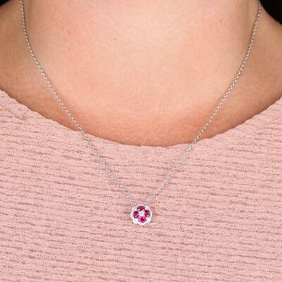 Floral Ruby & Diamond Pendant 14K