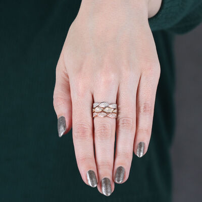 Tri-Color Twist Diamond Ring 14K