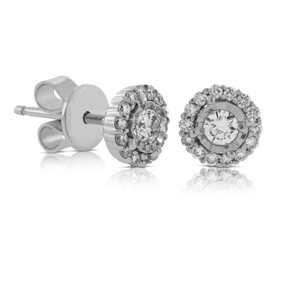 Cluster Diamond Halo Earrings 14K