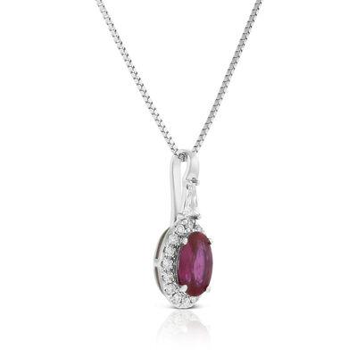 Oval Ruby & Diamond Halo Necklace 14K