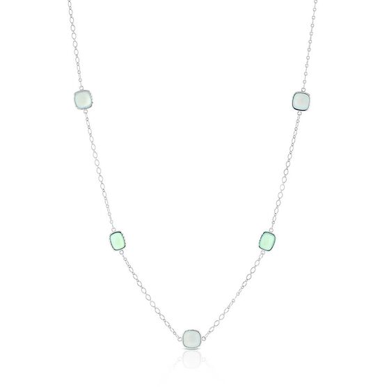 "Lisa Bridge Chalcedony & Blue Lace Agate Station Necklace, 36"""