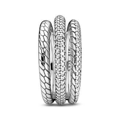 Pandora Triple Band Pavé CZ Snake Chain Pattern Ring