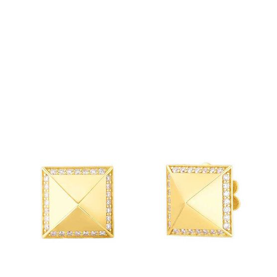 Roberto Coin Diamond Pyramid Stud Earrings 18K