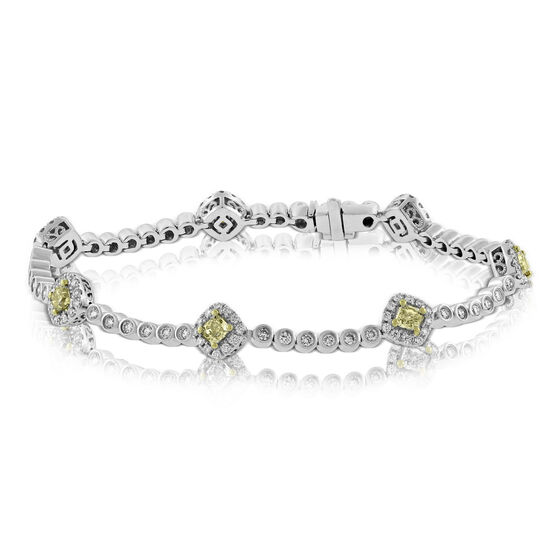 Yellow & White Diamond Tennis Bracelet 14K