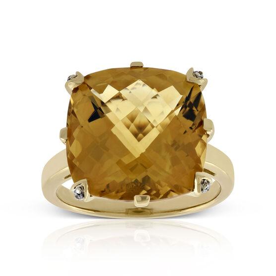 Checkerboard Citrine & Diamond Ring 14K