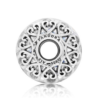 PANDORA Iridescent White Glass Charm