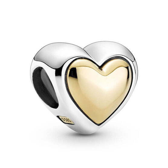 Pandora Domed Golden Heart Charm, 14K & Silver
